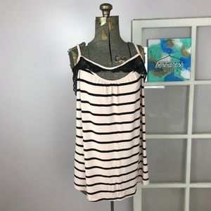 Torrid Pink Striped Lace Keyhole Cami